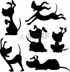 lustige Hund-Silhouette - Vektor-Illustration Illustration