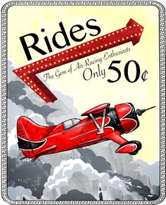Airplane rides poster sign - red, yellow, and gray - retro look with a cool border