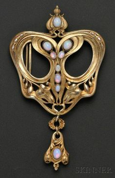 Art Nouveau Sterling Silver-gilt and Opal Buckle by Gorham via Skinner Auctions