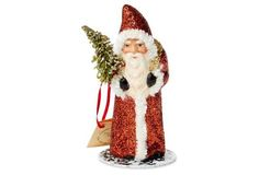 "5.5"" Glittered Santa Figurine, Red"