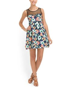 Floral Skater Dress With Mesh from T.J. Maxx