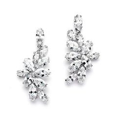Mariell Cubic Zirconia Cluster Wedding Earrings with Marquis Leaves - Perfect…