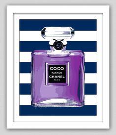 8 x 10 Wall Decor Print, Modern Home Decor-Chanel Perfume Bottle Print With Stripes