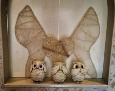 Wings diy from wire and lace, beautiful owls from a store called rusta