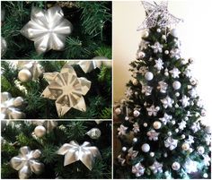 #ChristmasTree, #HomeDécor, #Pet, #PlasticBottle, #Upcycled This is a Christmas Tree with a lot of stars made from the bottoms of PET bottles. First I cut the bottoms of the bottles, made the cuts and folded to look like stars and then I painted with silver spray. For this 180 centimeters tree, we need