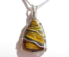 Tiger Eye Pendant  Sterling Silver Wire by SilverAndStoneWorks