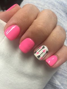 Pink white nails with arrows