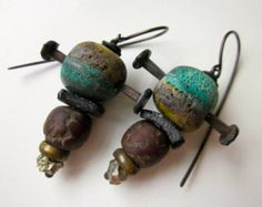 Patient X - primitive assemblage industrial tribal nail studded teal olive green lampwork glass, wood, Roman glass, pyrite, copper earrings