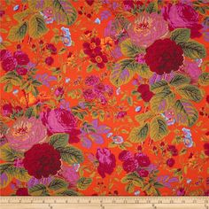 Kaffe Fassett Collective Grandi Floral Tomatoe from @fabricdotcom  Designed by Kaffe Fassett for Westminster/Rowan Fabrics, this cotton print is perfect for quilting, apparel and home decor accents. Colors include light blue, pink, berry, olive and tomato orange.