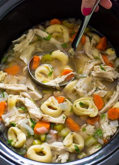 Super Easy Slow Cooker Chicken Tortellini Soup. Loaded with tons of veggies, shredded chicken and cheesy tortellini! Hi guys! It's Kelley…