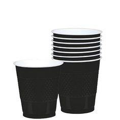 Jet Black Plastic Cups 12 oz. | 20ct
