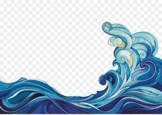 Wave Drawing, Wave Illustration, Blue Artwork, Mermaid Drawings, Drawing Clipart, Mural Art, Cartoon Drawings, Gouache, Tattoos