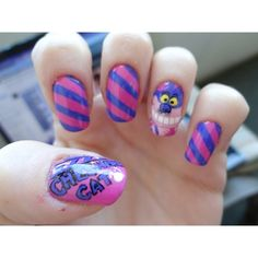 Cheshire Cat Nail Art Gallery found on Polyvore featuring polyvore, nails, beauty and makeup