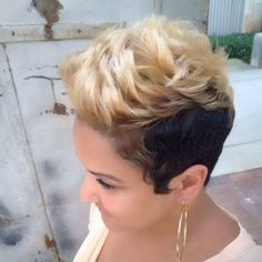 short multi colored hair with bangs and puffs, short hairstyle, bang hairstyle
