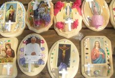 Choose a saint or theme holy card and decorate a plaque for the wall