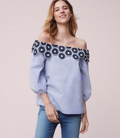 Thumbnail Image of Color Swatch 2470 Image of Floral Lace Striped Off The Shoulder Blouse