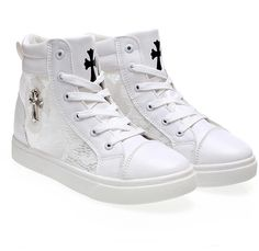 Casual Lace High Top Sneaker With Cross Embellishment on Luulla How To Tie Shoes, Flat Heel Boots, High Top Sneakers, Shoes Sneakers, Women's Feet, Casual Shoes, High Tops, Sporty, Flats