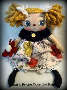 Primitive Raggedy Annie, Prim Rag Doll, Whimsical Doll, Handpainted Doll, Rag Doll, All is Bright Dolls, Country Prim Decor, 11 inch by Allisbright on Etsy