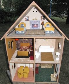 Free ideas to make your own homemade, cheap, inexpensive, lighted wooden dollhouse, furniture, and miniature accessories. Plus fast, easy, and simple doll house decorating ideas, tips, and downloads!