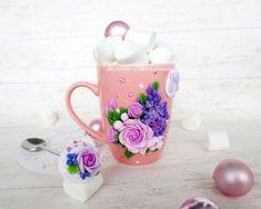 Polymer Clay Recipe, Polymer Clay Crafts, Fun Crafts, Diy And Crafts, Cute Mug, Clay Mugs, Clay Food, Polymer Clay Pendant, Clay Dolls