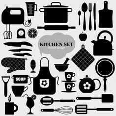 Elementos de cocina negros Vector Gratis