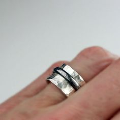 Hammered Silver with Black Band Day and Night by bespokenjewelry, $85.00