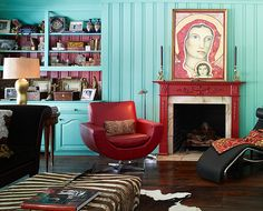 Perfect inspiration for our living room! Our walls are this color!