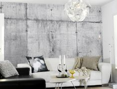 concrete living room design 20, concrete wall paper, photograph by Tom Haga