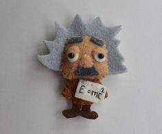 Handmade Eco Friendly Brooch / Magnet / Ornament - Felt Brooch / Magnet / Ornament - Albert Einstein - Scientist / Physicist