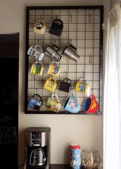 Having all of your mugs on display with this DIY coffee mug organizing rack will totally brighten up your mornings and you will have more cabinet space! #coffeemug