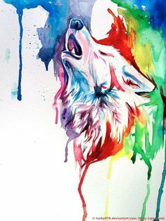 Sur aquarel wolf
