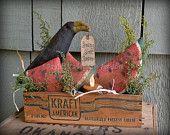 Watermelon Crow Vintage Cheesebox Light Rustic Summer Decoration Primitive Votive Candle Decor STCOFG