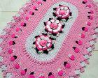 Tapete de crochê Flor Isadora com botões