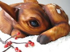 Hi all, I have gone back to cute again after Eddie the Mixer for Halloween! Meet Fifi the Fawn! Shes all cake and curled up in the snow! I made her as a tutorial for Cake Craft and Decoration Magazine out now. Hope you like her! Zoe x
