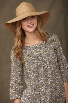 Liberty 'Fitzgerald' Grey floral Tunic £89  Made in England  Tana Lawn  Machine washable