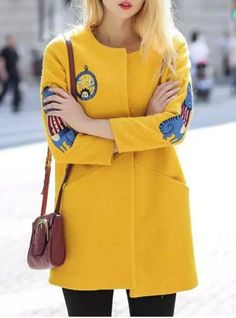 Fashionable Scoop Neck 3/4 Sleeve Embroidered Coat
