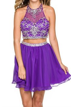 Are you looking for that perfect two piece dress!? This just might be your dress! This dress features a fully jeweled bodice and back, a jeweled waist line, and a flowy skirt! Sizes XS-2XL Ships in 7-