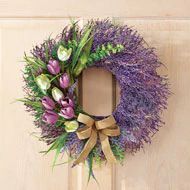 Tulips With Lavender Berries Wreath - 37680 Berry Wreath, Grapevine Wreath, Lavender Wreath, Collections Etc, White Tulips, Wreaths For Front Door, Christmas Wreaths, Spring Wreaths, Artificial Flowers