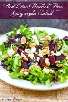 Meat Salad, Salad Bar, Side Salad, Soup And Salad, Pear Gorgonzola Salad, Gorgonzola Cheese, Salad Recipes, Healthy Recipes, Delicious Recipes