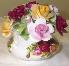 "LOVELY! RARE! ROSES IN THE POT ROYAL ALBERT ""Old Country Roses"" Pattern"