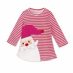 4d052f0be7f Allywit Toddler Kids Baby Girls Deer Striped Princess Dress Christmas  Outfits Clothes 3T White