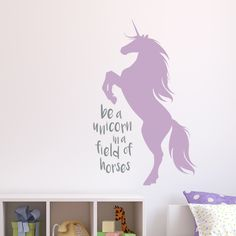 This unicorn wall decal is complete with an inspirational quote perfect for your daughters room.  Our vinyl wall decals are easy to apply!  Get yours today: https://www.etsy.com/listing/384947098/unicorn-wall-decal-inspirational-wall