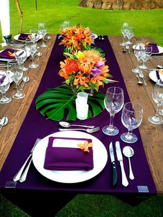 57 Cheerful Tropical Wedding Table Settings | HappyWedd.com -- could use just a strip of cloth down the middle instead of the whole table..depending on the table itself