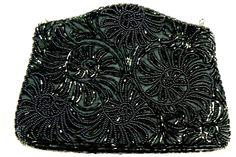 La Regale Ltd Hand Made Black Glass Beaded Evening Purse Bag $0 SH | eBay