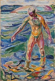 Edvard Munch Bathing Man, oil on canvas , Nasjonalgalleriet, Oslo Edvard Munch, List Of Paintings, Georges Seurat, Guache, Art Moderne, Gay Art, Renoir, Figure Painting, Erotic Art