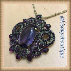 "Gorgeous pendant necklace Gorgeous chains necklace with a purple pendant, necklace is about 28"" long. Jewelry Necklaces"