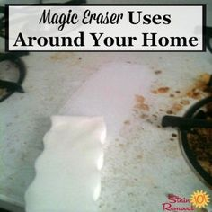Lots of uses for a Magic Eraser around your home for cleaning tough messes and removing stains, scuffs and marks {on Stain Removal 101} #MagicEraser #CleaningTips #CleaningHacks