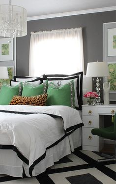 Bedroom Makeover with greens, grays and bold details