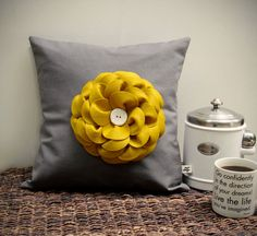 "16"" DESIGNER PILLOW COVER - Charcoal Gray Linen - Mustard Yellow Felt Flower Ceramic Button - Made to Order by JillianReneDecor"