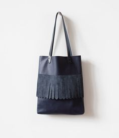 Rounded Fringe Navy Blue Tote bag No.Tl 6025 festival by CORIUMI
